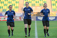 20190304 - LARNACA , CYPRUS : Slovakian assistant referee Maria Sukenikova (left) ,  Welsh referee Cheryl Foster (middle) , Czech assistant referee Lucie Ratajova (right) pictured during a women's soccer game between Mexico and Hungary , on Monday 4 March 2019 at the AEK Arena in Larnaca , Cyprus . This is the third game in group B for both teams during the Cyprus Womens Cup 2019 , a prestigious women soccer tournament as a preparation on the FIFA Women's World Cup 2019 in France . PHOTO SPORTPIX.BE | STIJN AUDOOREN