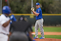 Indiana State Sycamores pitcher Connor Fenlong (33) during the teams opening game of the season against the Pitt Panthers on February 19, 2021 at North Charlotte Regional Park in Port Charlotte, Florida.  (Mike Janes/Four Seam Images)
