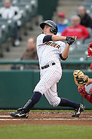 Trenton Thunder outfielder Dan Brewer #8 at bat during a game against the Portland Sea Dogs at Waterfront Park on May 4, 2011 in Trenton, New Jersey.  Trenton defeated Portland by the score of 7-1.  Photo By Mike Janes/Four Seam Images