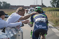 Michael Matthews (AUS/ORICA-BikeExchange) stops by the race doctor to get some medical assistance <br /> <br /> 12th Eneco Tour 2016 (UCI World Tour)<br /> Stage 7: Bornem › Geraardsbergen (198km)