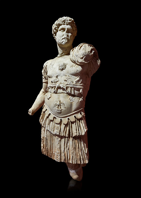 Roman statue of Emperor Hadrian. Marble. Perge. 2nd century AD. Inv no 3053. Antalya Archaeology Museum; Turkey. Against a black background.