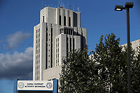 The exterior of the Walter Reed National Military Medical Center in Bethesda, Maryland, U.S., is seen on Friday, Oct. 2, 2020. Trump will be treated for Covid-19 after being in isolation at the White House since his diagnosis, which he announced after one of his closest aides had tested positive for coronavirus infection.<br /> Credit: Oliver Contreras/ Pool via CNP/AdMedia