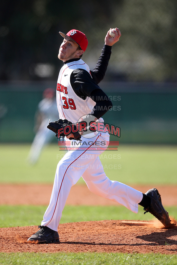 February 28, 2010:  Pitcher Kyle Hansen (39) of St. John's Red Storm during the Big East/Big 10 Challenge at Raymond Naimoli Complex in St. Petersburg, FL.  Photo By Mike Janes/Four Seam Images