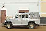 Spain, Canary Islands, Archipielago Chinijo, Isla Graciosa, Caleta del Sebo. Land Rover Defender 110 Crew Cab. --- No releases available. Automotive trademarks are the property of the trademark holder, authorization may be needed for some uses.