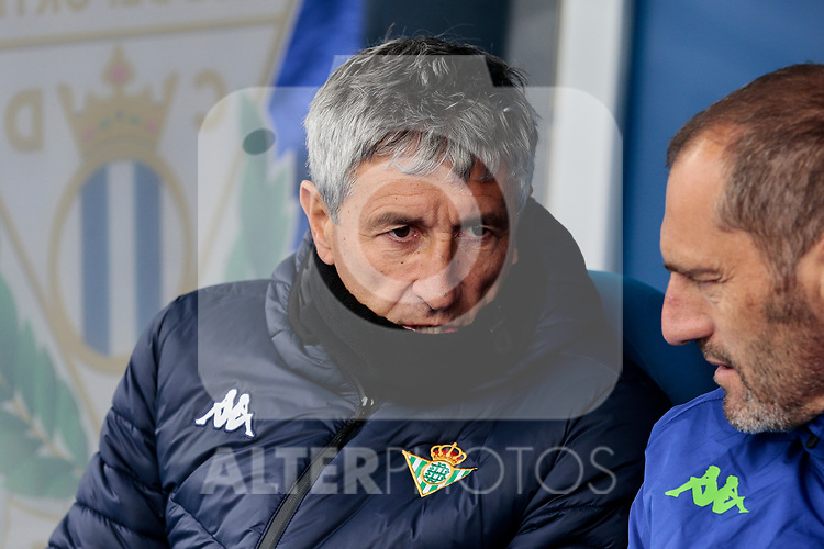Real Betis Balompie's coach Quique Setien during La Liga match between CD Leganes and Real Betis Balompie at Butarque Stadium in Madrid, Spain. February 10, 2019. (ALTERPHOTOS/A. Perez Meca)