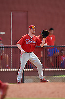 Philadelphia Phillies Danny Mayer (35) during an Instructional League game against the Toronto Blue Jays on September 30, 2017 at the Carpenter Complex in Clearwater, Florida.  (Mike Janes/Four Seam Images)