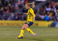 COLUMBUS, OH - NOVEMBER 07: Magdalena Eriksson #6 of Sweden passes the ball during a game between Sweden and USWNT at Mapfre Stadium on November 07, 2019 in Columbus, Ohio.
