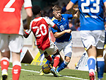 St Johnstone v Fleetwood Town…24.07.21  McDiarmid Park<br />Reece Devine is tackled by Jay Matete<br />Picture by Graeme Hart.<br />Copyright Perthshire Picture Agency<br />Tel: 01738 623350  Mobile: 07990 594431