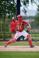 GCL Nationals catcher Geraldi Diaz (12) throws down to second base during a Gulf Coast League game against the GCL Astros on August 9, 2019 at FITTEAM Ballpark of the Palm Beaches training complex in Palm Beach, Florida.  GCL Nationals defeated the GCL Astros 8-2.  (Mike Janes/Four Seam Images)