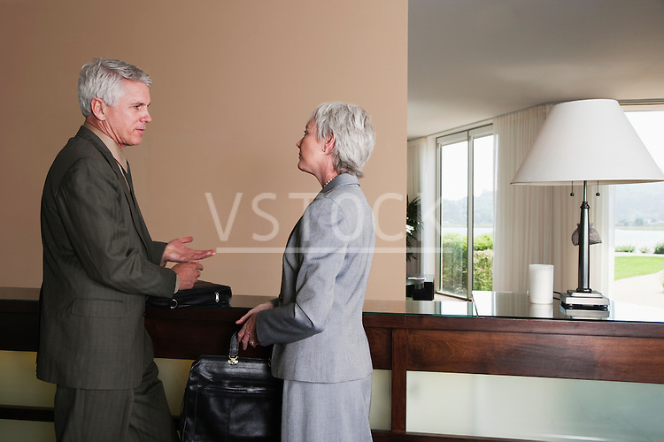 USA, California, Mill Valley, Business man and woman talking at hotel reception