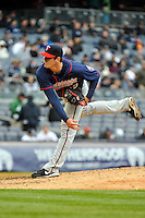 Apr 07, 2011; Bronx, NY, USA; Minnesota Twins pitcher Jeff Manship (49) during game against the New York Yankees at Yankee Stadium. Yankees defeated the Twins 4-3. Mandatory Credit: Tomasso DeRosa /Four Seam Images