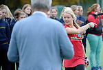 GER - Mannheim, Germany, October 25: During the prize giving ceremony after the final of the Deutsche Meisterschaft WJB between Mannheimer HC (blue) and Bremer HC (red) on October 25, 2015 at Mannheimer Hockey Club in Mannheim, Germany. Final score 3-5 (ET 1-1, FT 1-1, HT 0-1). (Photo by Dirk Markgraf / www.265-images.com) *** Local caption ***