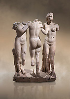 Roman statue of The Three Graces. Marble. Perge. 2nd century AD. Inv no 17.29.81. Antalya Archaeology Museum; Turkey. Against a warm art background.<br /> <br /> The Three Graces iRoamn statue is of the mythological three charites, daughters of Zeus,  Euphrosyne, Aglaea and Thalia , who were said to represent youth/beauty (Thalia), mirth (Euphrosyne), and elegance (Aglaea).