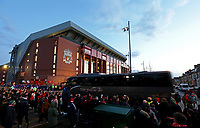 A general view of Anfield as the Atletico Madrid team coach arrives ahead of kick-off<br /> <br /> Photographer Rich Linley/CameraSport<br /> <br /> UEFA Champions League Round of 16 Second Leg - Liverpool v Atletico Madrid - Wednesday 11th March 2020 - Anfield - Liverpool<br />  <br /> World Copyright © 2020 CameraSport. All rights reserved. 43 Linden Ave. Countesthorpe. Leicester. England. LE8 5PG - Tel: +44 (0) 116 277 4147 - admin@camerasport.com - www.camerasport.com