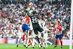 Real Madrid Thibaut Courtois and Raphael Varane and Atletico de Madrid Jose Maria Gimenez during La Liga match between Real Madrid and Atletico de Madrid at Santiago Bernabeu Stadium in Madrid, Spain. September 29, 2018. (ALTERPHOTOS/Borja B.Hojas)