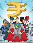 Business super hero with rupee symbol