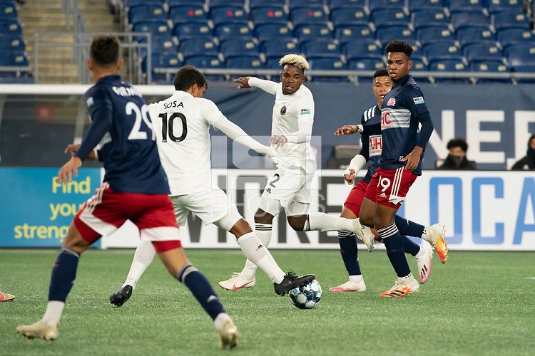 FOXBOROUGH, MA - OCTOBER 09: Eduardo Sosa #10 of Fort Lauderdale CF receives a short pass from Brian Rosales #2 of Fort Lauderdale CF in the midfield during a game between Fort Lauderdale CF and New England Revolution II at Gillette Stadium on October 09, 2020 in Foxborough, Massachusetts.