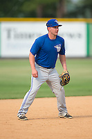 Bluefield Blue Jays Aaron Attaway (5) during batting practice prior to the game against the Burlington Royals at Burlington Athletic Park on July 1, 2015 in Burlington, North Carolina.  The Royals defeated the Blue Jays 5-4. (Brian Westerholt/Four Seam Images)