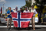 On Norwegian Day former champions Thor Hushovd, Oddbjørn Hjelmeseth and Dag Otto Lauritzen with Francois Belay, commentator of the Tour de France, promoting the Artic Tour of Norway run by ASO, at the end of Stage 3 of the 2019 Tour de France running 215km from Binche, Belgium to Epernay, France. 8th July 2019.<br /> Picture: ASO/Marie-Christine Lieu | Cyclefile<br /> All photos usage must carry mandatory copyright credit (© Cyclefile | ASO/Marie-Christine Lieu)