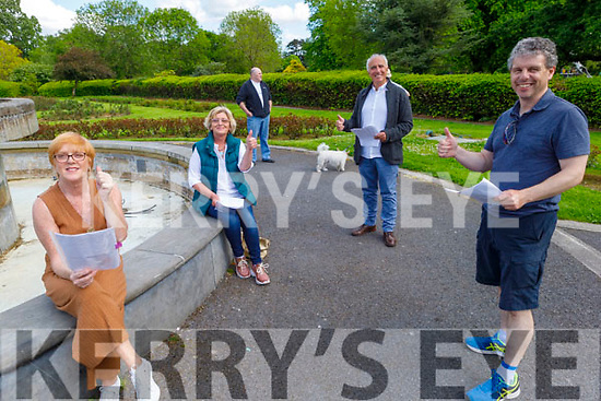 Mary Higgins, Siobhan Keane, John Patten, Frank Houlihan and John Creagh members of the Hybreasal Productions, rehearsing in the Tralee town park on Friday.