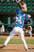Nick Dean (22) of the Ogden Raptors at bat against the Grand Junction Rockies in Pioneer League action at Lindquist Field on July 5, 2015 in Ogden, Utah. Ogden defeated Grand Junction 12-2. (Stephen Smith/Four Seam Images)