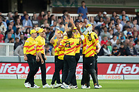 Trent Rockets celebrate the crucial wicket of Eoin Morgan, London Spirit during London Spirit Men vs Trent Rockets Men, The Hundred Cricket at Lord's Cricket Ground on 29th July 2021
