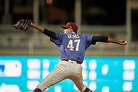 Frisco RoughRiders pitcher Jairo Beras (47) during a Texas League game against the Springfield Cardinals on May 4, 2019 at Dr Pepper Ballpark in Frisco, Texas.  (Mike Augustin/Four Seam Images)