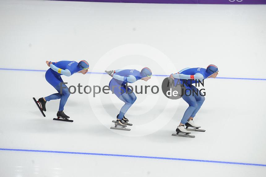OLYMPIC GAMES: PYEONGCHANG: 18-02-2018, Gangneung Oval, Long Track, Team Pursuit Men, Team Norway, Simen Spiler Nilsen, Sverre Lunde Pedersen, Sindre Henriksen, ©photo Martin de Jong