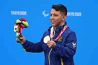 26th August 2021; Tokyo, Japan; CRISPIN CORZO Nelson (COL),  Swimming : Men's 200m Individual Medley SM6 Medal Ceremony <br /> during the Tokyo 2020 Paralympic Games at the Tokyo Aquatics Centre in Tokyo, Japan.