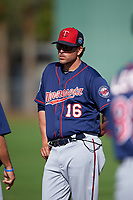 Minnesota Twins coach Doug Mientkiewicz (16) during a Spring Training practice on March 1, 2016 at Hammond Stadium in Fort Myers, Florida.  (Mike Janes/Four Seam Images)