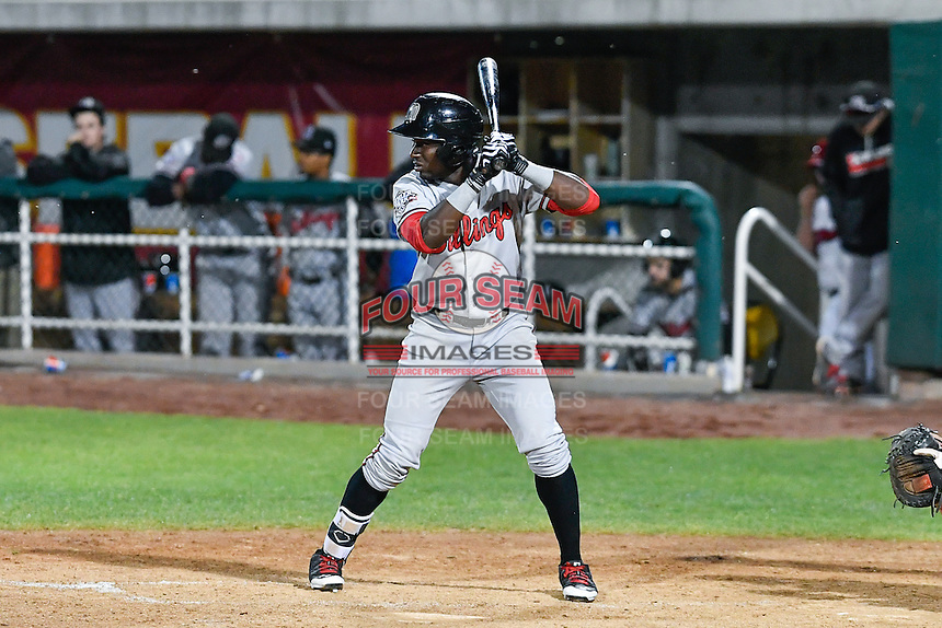 Taylor Trammell (18) of the Billings Mustangs at bat against the Orem Owlz in Game 2 of the Pioneer League Championship at Home of the Owlz on September 16, 2016 in Orem, Utah. Orem defeated Billings 3-2 and are the 2016 Pioneer League Champions. (Stephen Smith/Four Seam Images)