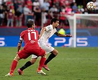 14th September 2021; Sevilla, Spain: UEFA Champions League football, Sevilla FC versus RB Salzburg; <br /> Andreas Ulmer of Salzburg  beaten by the turn from Jesus Navas of Sevilla