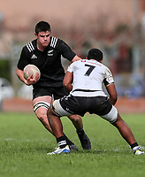 Zach Gallagher in action during the rugby union match between New Zealand Schools and Fiji Schools at Hamilton Boys' High School in Hamilton, New Zealand on Monday, 30 September 2019. Photo: Simon Watts / lintottphoto.co.nz
