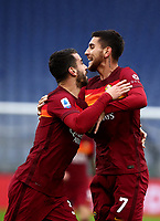 Football, Serie A: AS Roma -  FC Internazionale Milano, Olympic stadium, Rome, January 10, 2021. <br /> Roma's Lorenzo Pellegrini (r) celebrates after scoring with his teammate Leonardo Spinazzola (l) during the Italian Serie A football match between Roma and Inter at Rome's Olympic stadium, on January 10, 2021.  <br /> UPDATE IMAGES PRESS/Isabella Bonotto