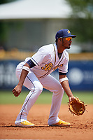 Montgomery Biscuits third baseman Jermaine Palacios (2) during a Southern League game against the Mobile BayBears on May 2, 2019 at Riverwalk Stadium in Montgomery, Alabama.  Mobile defeated Montgomery 3-1.  (Mike Janes/Four Seam Images)