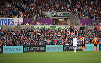 LED advertising boards during the Premier League match between Swansea City and Hull City at the Liberty Stadium, Swansea on Saturday August 20th 2016