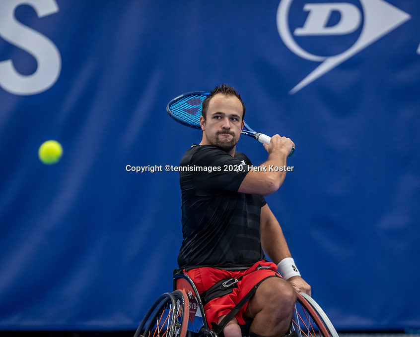 Amstelveen, Netherlands, 12  December, 2020, National Tennis Center, NTC, NKR, National   Indoor Wheelchair Tennis Championships, Men's single Final :  Tom Egbering (NED)<br /> Photo: Henk Koster/tennisimages.com