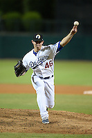 Glendale Desert Dogs pitcher Mike Thomas (46), of the Los Angeles Dodgers organization, during an Arizona Fall League game against the Salt River Rafters on October 17, 2013 at Camelback Ranch in Phoenix, Arizona.  Glendale defeated Salt River 8-6.  (Mike Janes/Four Seam Images)