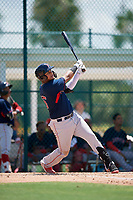 GCL Red Sox Danny Diaz (15) bats during a Gulf Coast League game against the GCL Pirates on August 1, 2019 at Pirate City in Bradenton, Florida.  GCL Red Sox defeated the GCL Pirates 11-3.  (Mike Janes/Four Seam Images)