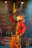 BNPS.co.uk (01202 558833)<br /> Pic: MaxWillcock/BNPS<br /> <br /> Pictured: Sword swallower Hannibal Hellmurto.<br /> <br /> The Circus of Horrors cast prepare for their evening performance at the Tivoli Theatre in Wimborne Minster, Dorset as part their tour of UK. The Circus of Horrors is a British-based contemporary circus, they were first seen performing at the Glastonbury Festival in 1995.