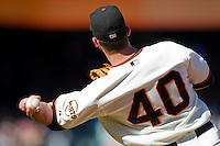 13 April 2008: #40 Daniel Ortmeier of the Giants throws a ball during the San Francisco Giants 7-4 victory over the St. Louis Cardinals at the AT&T Park in San Francisco, CA.