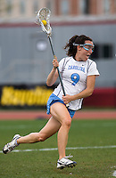 Jenn Russell (9) of North Carolina moves to goal during the ACC women's lacrosse tournament finals in College Park, MD.  Maryland defeated North Carolina, 10-5.