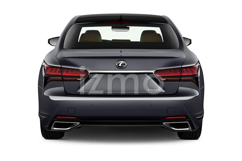 Straight rear view of 2021 Lexus LS 500 4 Door Sedan Rear View  stock images