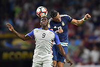 Houston, TX - Tuesday June 21, 2016: Gyasi Zardes, Ramiro Funes Mori during a Copa America Centenario semifinal match between United States (USA) and Argentina (ARG) at NRG Stadium.