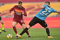 Borja Mayoral of Roma  and Julian Chabot of Spezia during the Serie A football match between AS Roma and AC Spezia at Olimpico stadium in Roma (Italy), Jannuary 23th, 2021. Photo Antonietta Baldassarre / Insidefoto