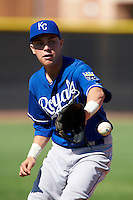 Kansas City Royals minor league infielder Ryan Dale #71 during an instructional league game against the Seattle Mariners at the Peoria Sports Complex on October 2, 2012 in Peoria, Arizona. (Mike Janes/Four Seam Images)