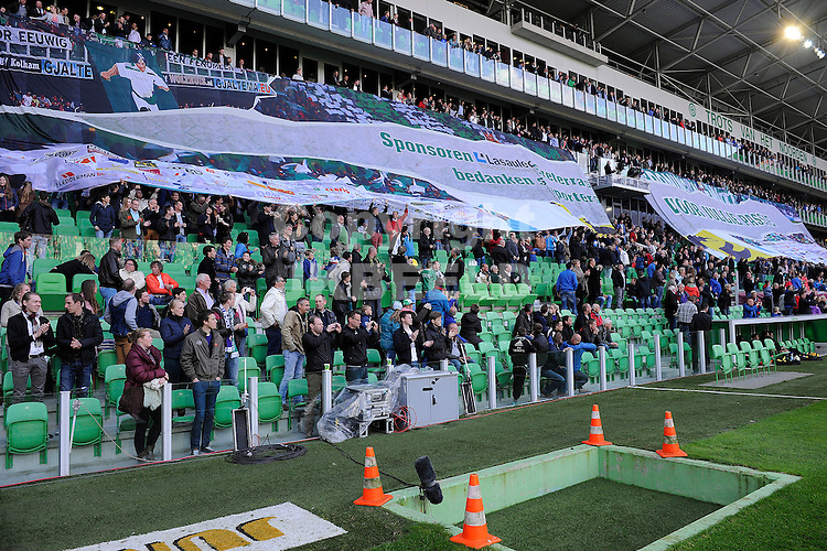 GRONINGEN - Voetbal, FC Groningen - Vitesse, Eredivisie halve finale playoff,  stadion Euroborg, seizoen 2013-2014, 07-05-2014,  spandoek hoofdtribune sponsoren