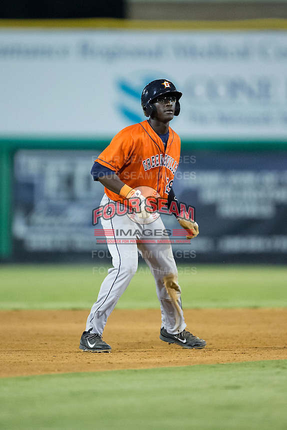 Daz Cameron (29) of the Greeneville Astros takes his lead off of second base against the Burlington Royals at Burlington Athletic Park on August 29, 2015 in Burlington, North Carolina.  The Royals defeated the Astros 3-1. (Brian Westerholt/Four Seam Images)