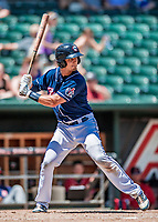 31 May 2018: New Hampshire Fisher Cats catcher Max Pentecost at bat against the Portland Sea Dogs at Northeast Delta Dental Stadium in Manchester, NH. The Sea Dogs defeated the Fisher Cats 12-9 in extra innings. Mandatory Credit: Ed Wolfstein Photo *** RAW (NEF) Image File Available ***