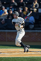 Johnny Aiello (2) of the Wake Forest Demon Deacons follows through on his swing against the Richmond Spiders at David F. Couch Ballpark on March 6, 2016 in Winston-Salem, North Carolina.  The Demon Deacons defeated the Spiders 17-4.  (Brian Westerholt/Four Seam Images)